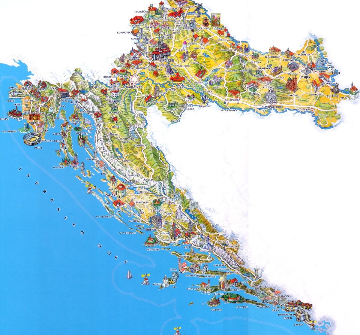 Niewiarygodnie Chorwacja mapa turystyczna - Wybrzeże, co warto zobaczyć w 2 tygodnie? XL66