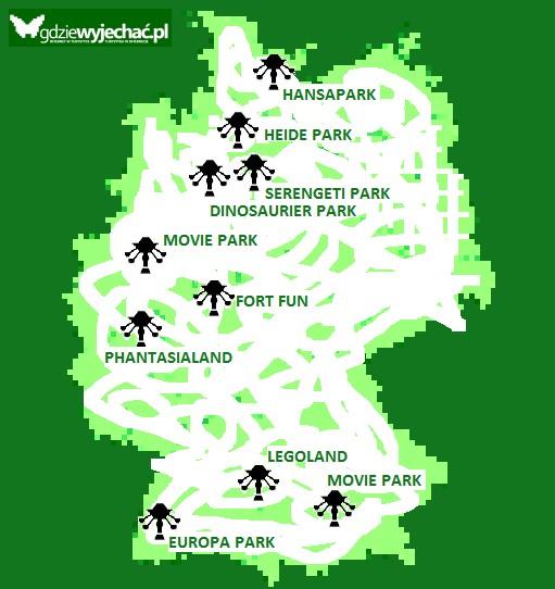 parki rozrywki w niemczech mapa