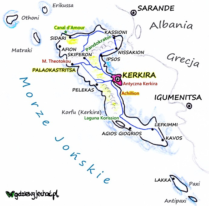 korfu mapa turystyczna