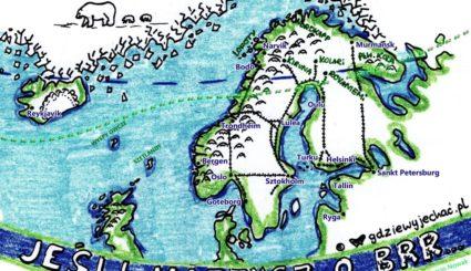 mapa arktyka zorze polarne