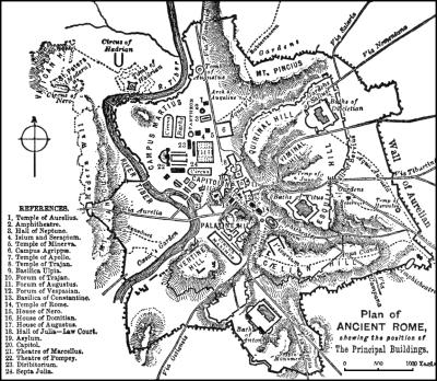 mapa rzym wzgórza
