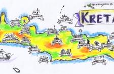 Najważniejsze i najpiękniejsze miejsca na Krecie – mapa rysunkowa