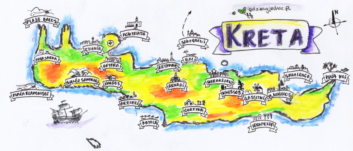 Mapa Turystyczna Krety Najwieksze Atrakcje Turystyczne