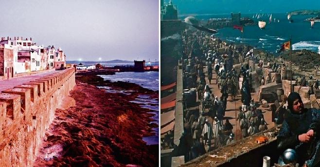 """Zrobliśmy taki kolaż. Po lewej zdjęcie murów Essaouiry, po prawej scena z """"Królestwa Niebieskiego"""" w tym samym miejscu"""
