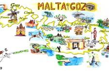 Malta, Gozo – rysunkowa mapa najciekawszych miejsc