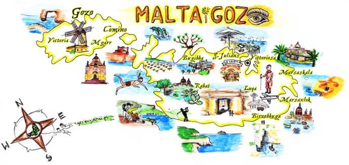 malta i gozo mapa atrakcje