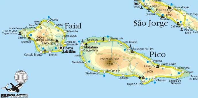 pico faial azores map