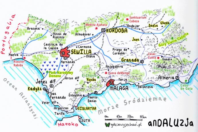 Andaluzja-mapa-turystyczna