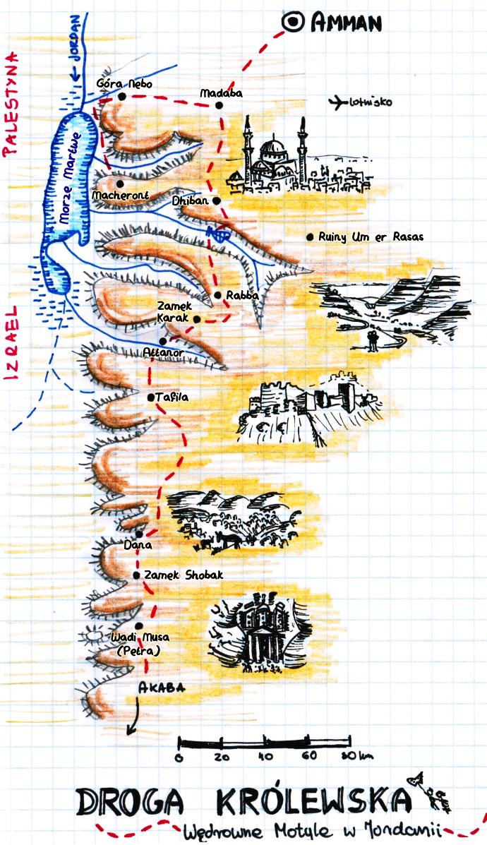 droga krolewska jordania mapa