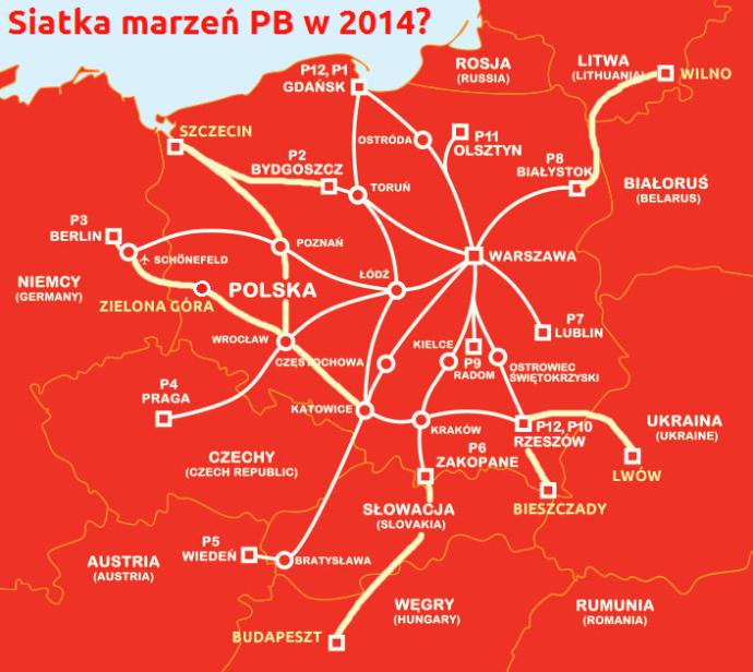 mapa polskibus połączenia 2014