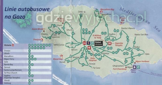 gozo autobusy linie mapa