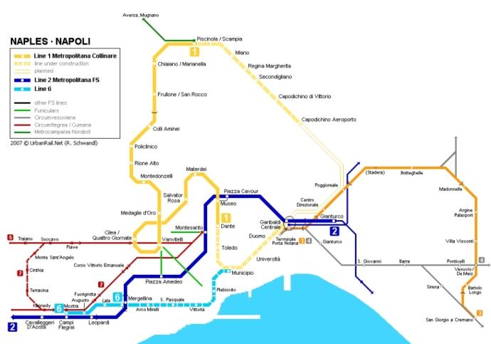 metro w neapolu mapa