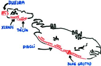 malta gozo klify mapa