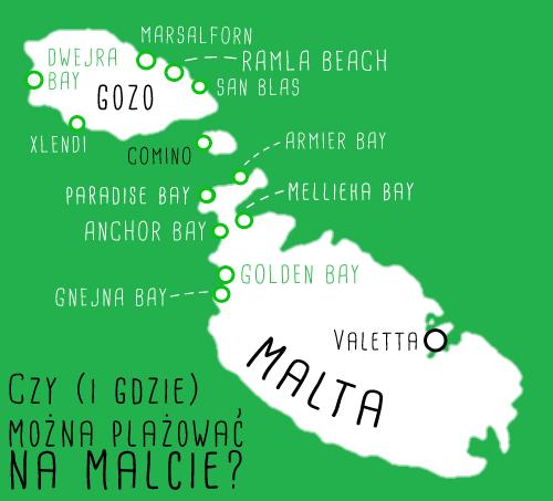 malta gozo plaże mapa