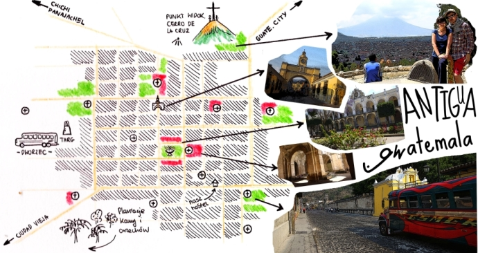 Antigua gwatemala mapa m