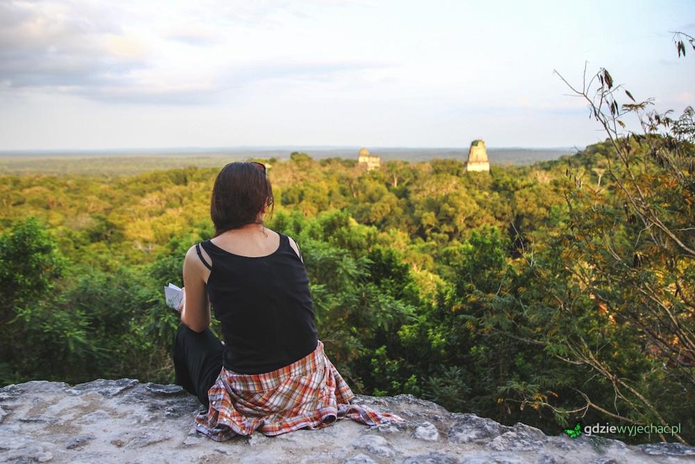 Gwatemala Tukal zachód słońca