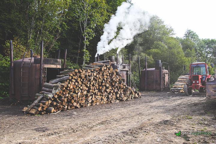 bieszczady wypalanie drewna