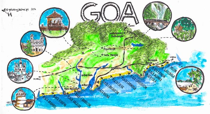 mapa-goa-plaże-indie