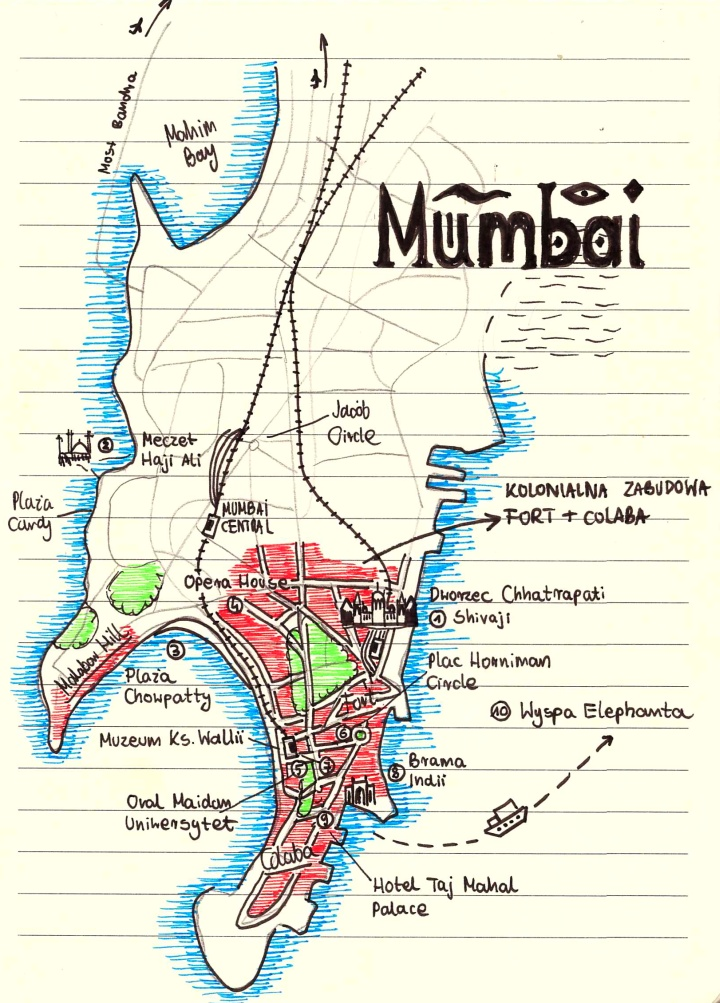 mumbaj mapa zabytki atrakcje