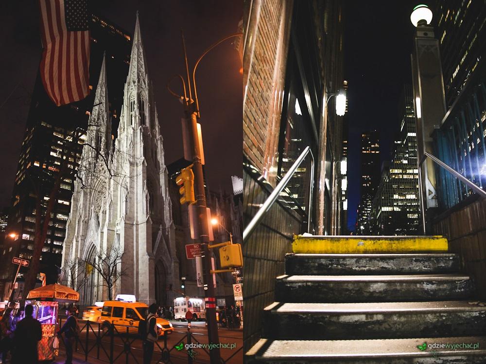 Wieczorne spacery ulicami. Katedra Św. Patryka i jedno z wejść do metra