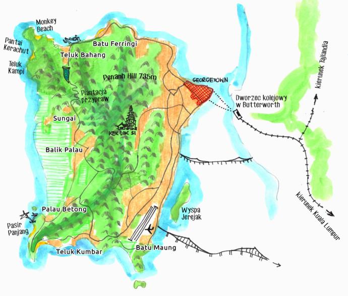 penang-malezja-mapa