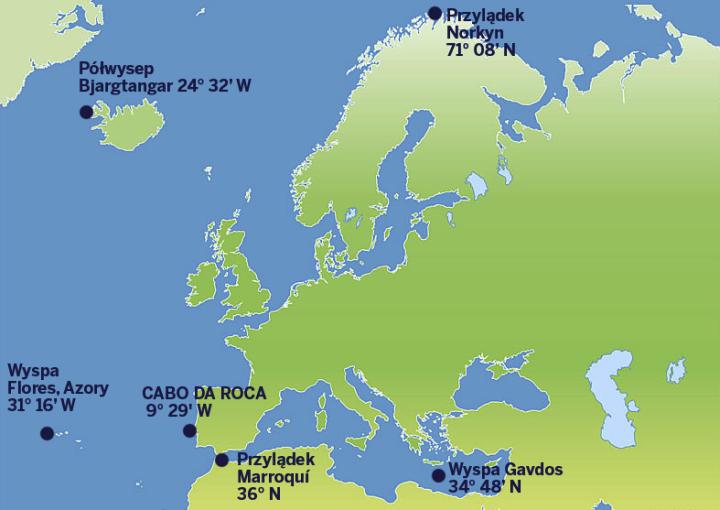 punktyskrajne europy mapa